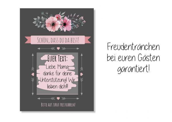 Gastgeschenk Hochzeit - Rubbelkarten schwarz rosa Blumen
