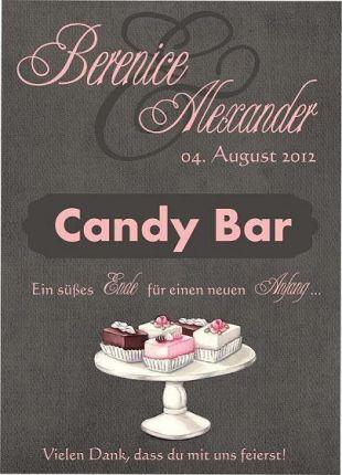 Personalisiertes Schild für Eure Candybar (PDF) zur Hochzeit