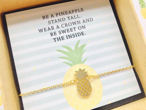 Geschenk Trauzeugin Armband Ananas goldfarben