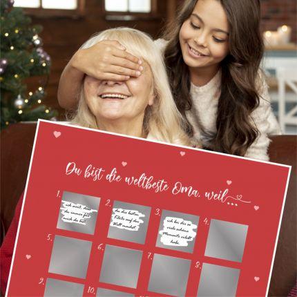 """Adventskalender zum Rubbeln """"Du bist die weltbeste Oma, weil"""""""