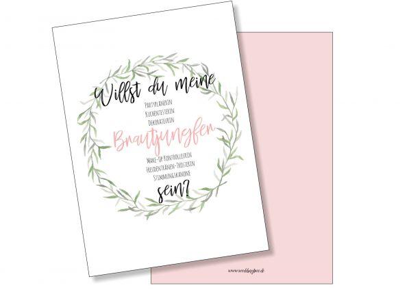 Postkarte Brautjungfer - Willst du meine Brautjungfer sein?