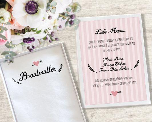 """Hochzeit Taschentuch für Freudentränen """"Brautmutter"""" Stofftaschentuch"""