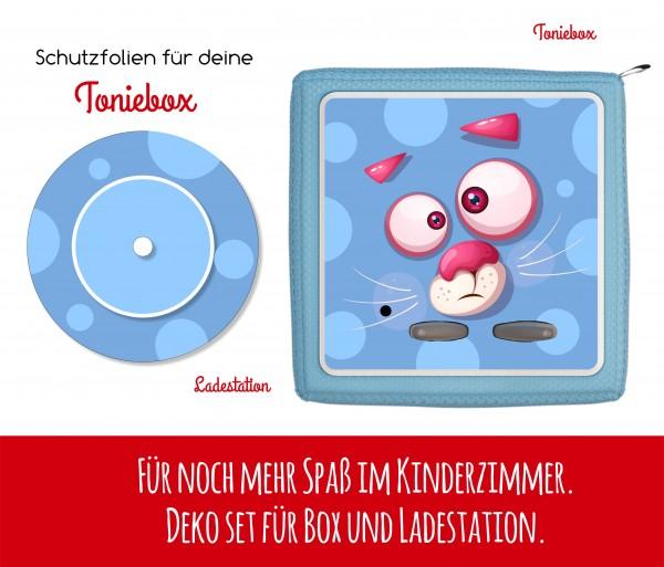 Ladestationsticker und Schutzfolie passend für Toniebox - Funny Face blaue Katze