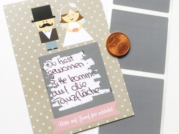 Gastgeschenk Hochzeit - Rubbelkarten Brautpaar