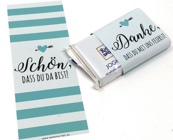 Gastgeschenk zur Hochzeit, Schokoladenbanderolen, Schokobanderolen, Hochzeitsdeko, Tischdeko, Candyb
