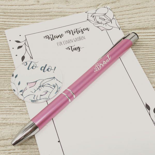 Geschenk für die Braut, Stift mit Gravur Braut, Kühlschrankmagnet und Notizblock, alles für die Hoch