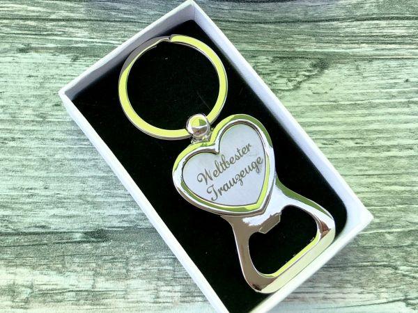 Hochzeit Geschenk für den Trauzeugen - Flaschenöffner mit Gravur in hochwertiger Geschenkbox