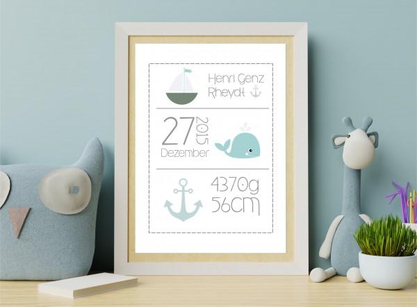 Personalisiertes Geburtsbild - Zauberhaftes Geschenk zur Geburt oder Taufe - Wal