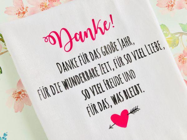 """Hochzeit Taschentuch für Freudentränen """"Danke"""" Stofftaschentuch"""