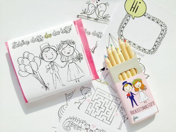 Gastgeschenk für Kinder | Ausmal Schokobanderole mit Buntstiften