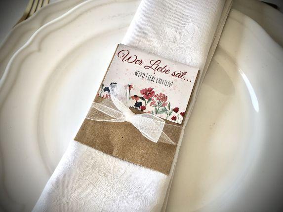 Gastgeschenk Hochzeit Blumensamen, Tüten & Karten Wildblumen