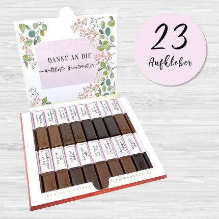 Aufkleber Set für Merci Schokolade | persönliches Geschenk für die Brautmutter / Mutter des Bräutiga
