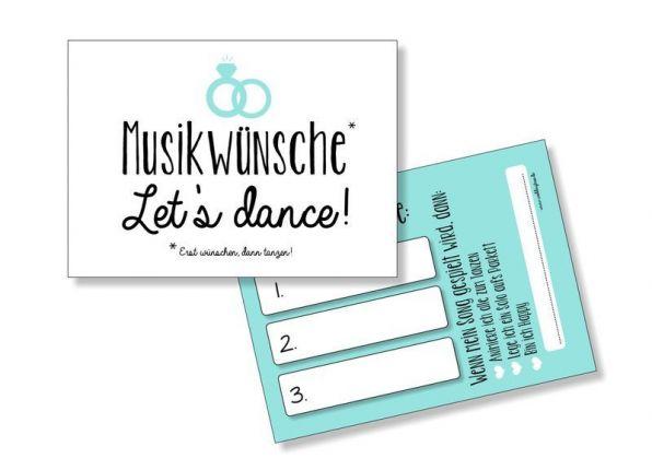Hochzeit Musikwunschkarten | Türkis