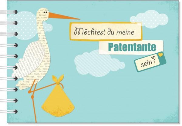 Geschenk für die Patentante - Willst du meine Patentante sein? Geschenkbuch Storch gelb