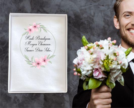 """Hochzeit Taschentuch für Freudentränen """"Immer dein Sohn"""" Stofftaschentuch"""