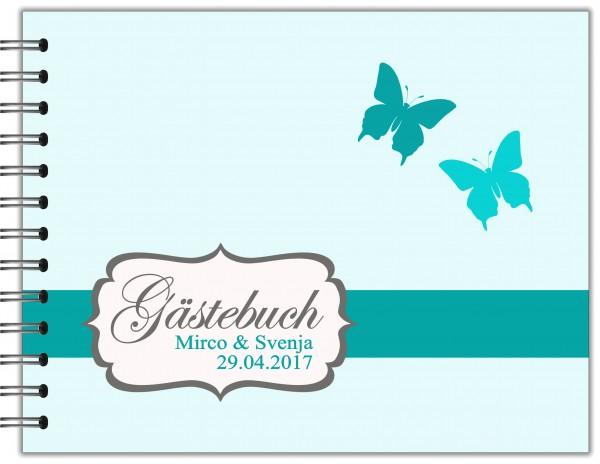 GÄSTEBUCH ZUR HOCHZEIT | RINGBUCH TÜRKISE SCHMETTERLINGE