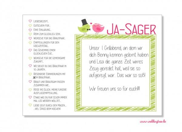 52 Karten Hochzeitsspiel | Postkartenspiel | Grün Rosa Vögelchen