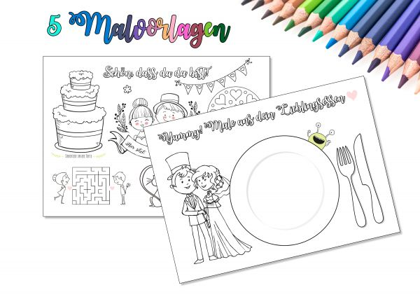 5 Malvorlagen zur Hochzeit | Kinderbeschäftigung auf der Hochzeit | Hochzeitsmalbuch