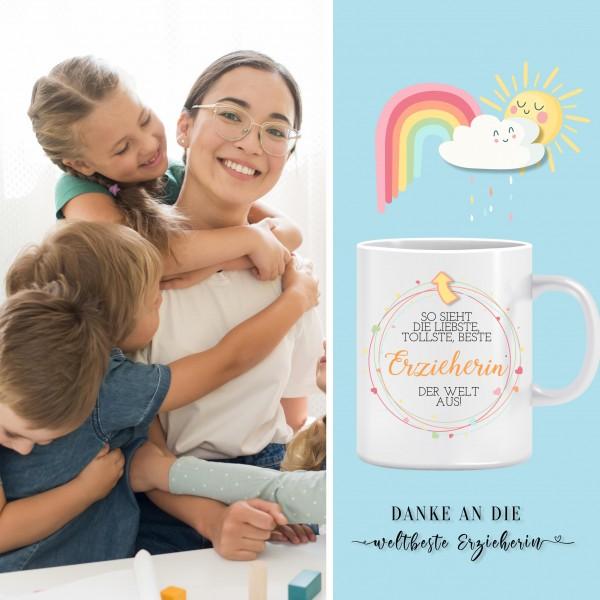 Geschenk Erzieherin Tasse - Danke, an die weltbeste Kindergärtnerin Regenbogen