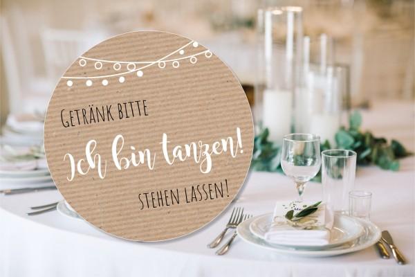"""Tischdeko """"Ich bin tanzen"""" Bierdeckel - Untersetzer Hochzeitsfeier"""