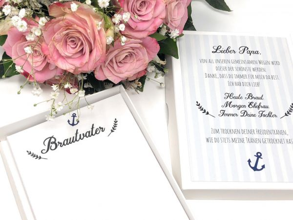 """Hochzeit Taschentuch für Freudentränen """"Brautvater"""" Stofftaschentuch-Copy"""