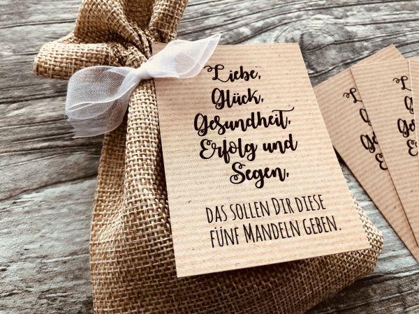 Hochzeit Gastgeschenk 50 Karten für Mandeln, Gastgeschenk Hochzeit, 5 Mandeln, Kraftpapier