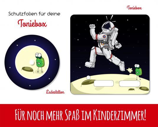 Ladestationsticker und Schutzfolie passend für Toniebox - Alien & Astronaut