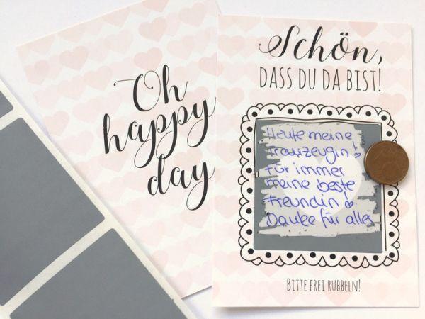 Gastgeschenk Hochzeit - Rubbelkarten Rosa Herzen