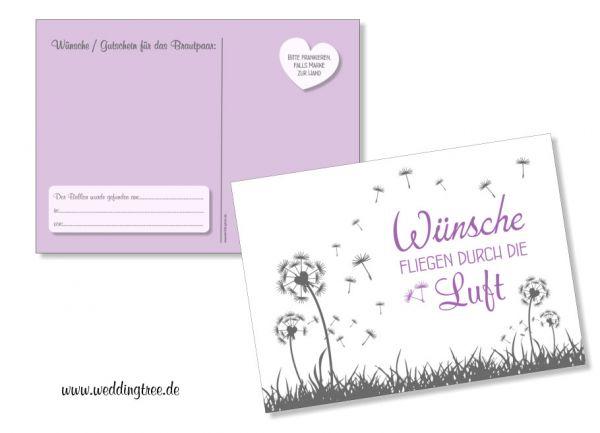 50 Ballonflugkarten zur Hochzeit Pusteblumen Flieder