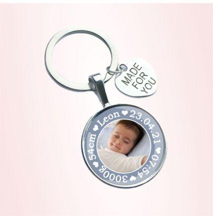 Schlüsselanhänger zur Geburt - personalisiert mit Foto