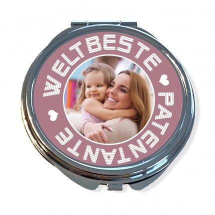Taschenspiegel personalisiert mit Foto | Weltbeste Patentante, Tante, Oma, Mama, Freundin