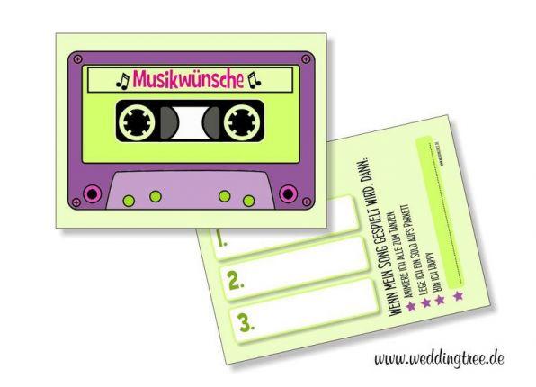 Musikwunschkarten für die Hochzeit | Retro Kasette