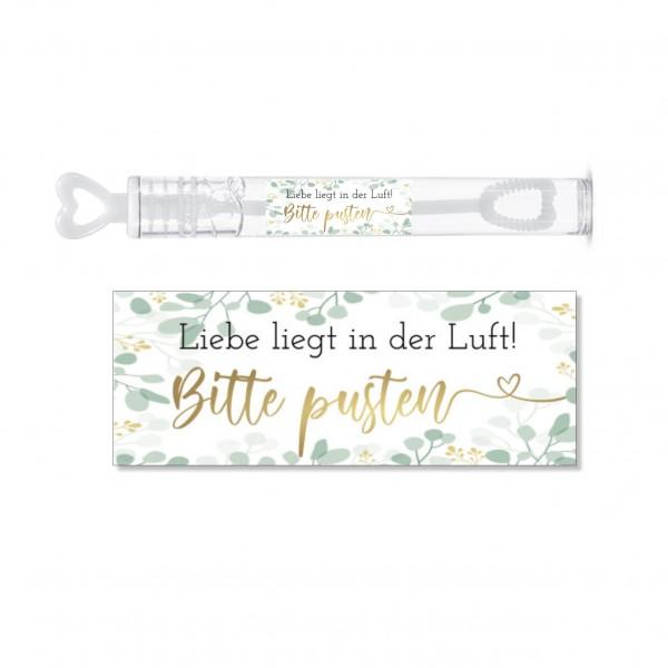 Aufkleber für die Hochzeit   SEIFENBLASEN   Bitte pusten- grün/gold
