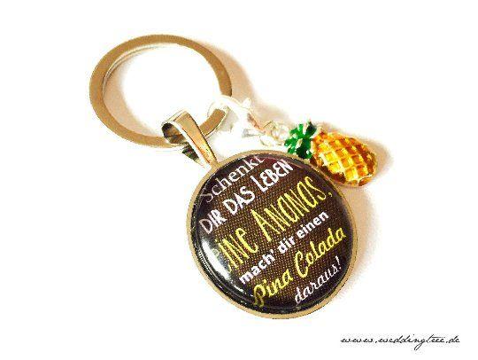 Anhänger Ananas, Schlüssel, Schlüsselanhänger, Pina Colada, Geschenk Freundin, Schlüsselübergabe, ne