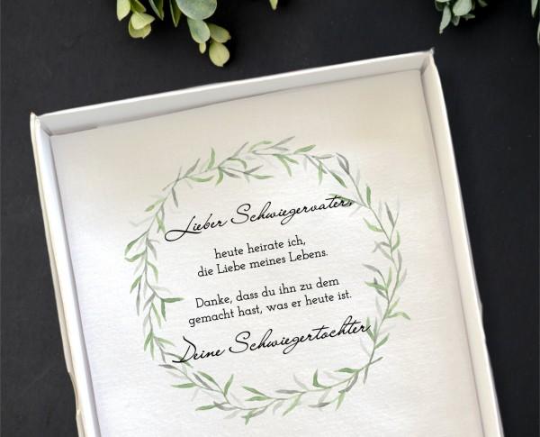 """Hochzeit Taschentuch für Freudentränen """"Schwiegervater"""" Stofftaschentuch"""