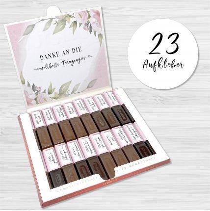 Aufkleber Set für Merci Schokolade   persönliches Geschenk für die Trauzeugin
