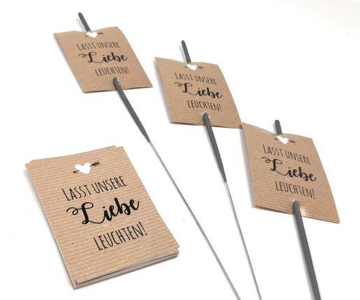Wunderkerzen Karten zur Hochzeit in Kraftpapieroptik