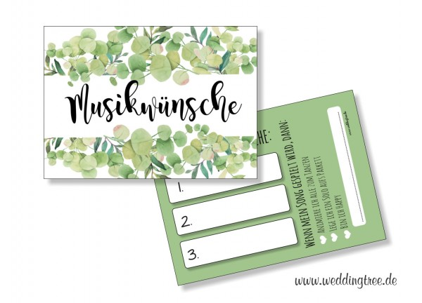 Musikwunschkarten für die Hochzeit | Eukalyptus