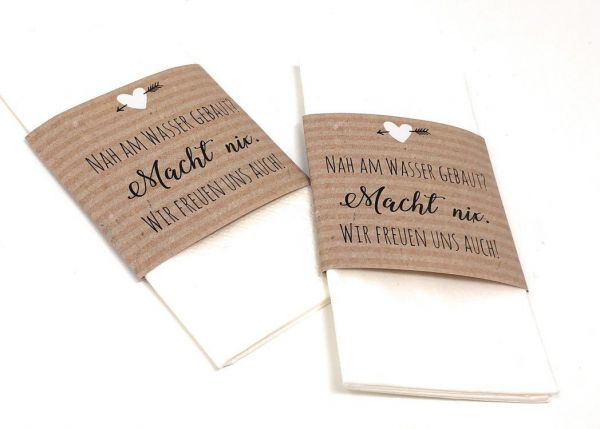 Banderolen für Freudentränen, Banderolen für Taschentücher, Freudentränenbanderolen, Hochzeitsdeko,
