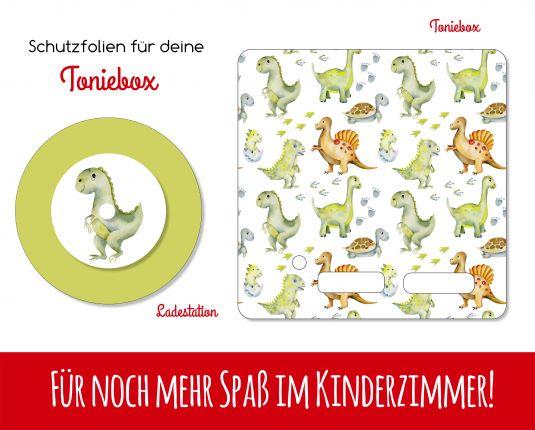Ladestationsticker und Schutzfolie passend für Toniebox - Dinos Watercolor