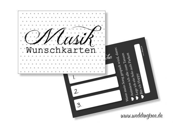 Musikwunschkarten für die Hochzeit | Punkte schwarz / weiß