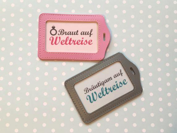 Hochzeitsgeschenk - Geschenk Kofferanhänger Brautpaar auf Weltreise - Flitterwochen
