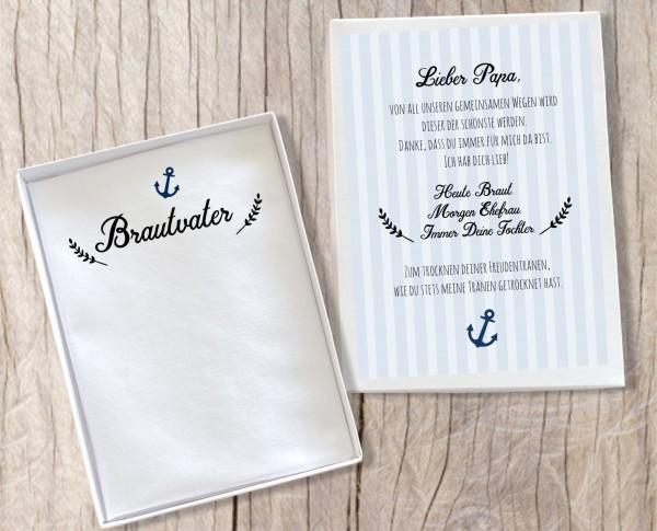 """Hochzeit Taschentuch für Freudentränen """"Brautvater"""" Stofftaschentuch"""