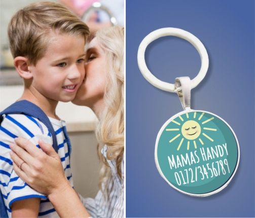 Kinder Anhänger Notfallnummer Sonne - Notfallanhänger - Geschenk zur Einschulung oder Kindergarten