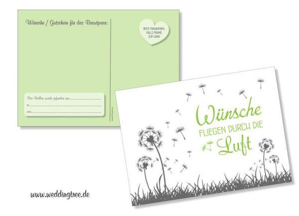 Ballonflugkarten extra leicht | Pusteblumen grün
