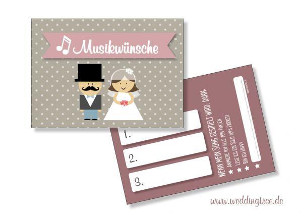 Musikwunschkarten für die Hochzeit   Brautpaar
