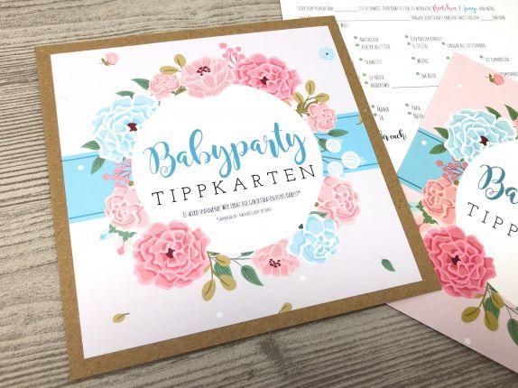 Tippkarten Babyparty 10er-Kartenset, Spiel Baby Shower Blumen