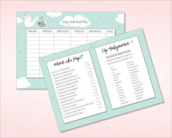 Baby Stadt Land Fluss - Mami oder Papi - VIP-Babynamen drei lustige Spiele für die Babyparty