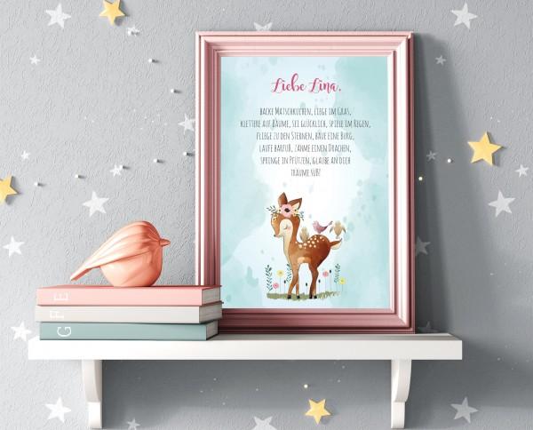 Personalisiertes Geburtsbild - Zauberhaftes Geschenk zur Geburt oder Taufe - Bambi