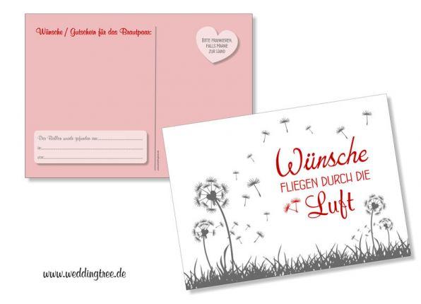 50 Ballonflugkarten, Pusteblumen, rot, Wünsche für das Brautpaar